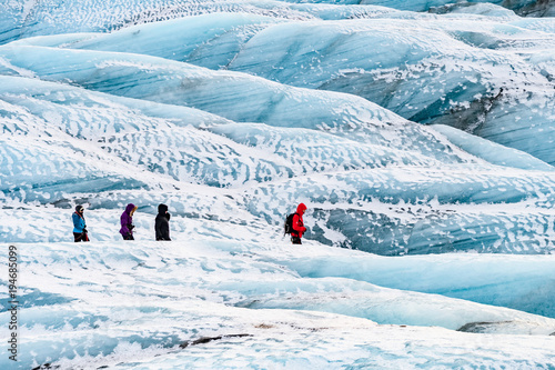 Poster Glaciers mountaineers hiking a glacier in iceland
