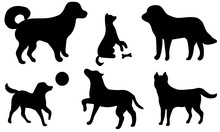 Set Of Icon Dogs. Black Silhou...