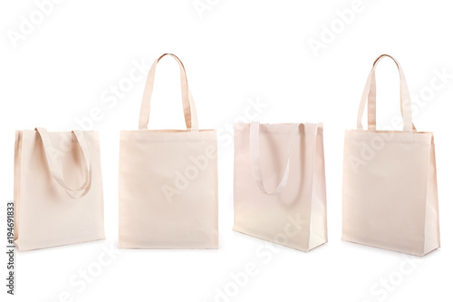Set of white cotton bag isolated on white Canvas Print