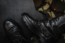 Army Uniform Military Boots, Boots, Pants, Bowler, Pistol In Holster On A Dark Background With Copy Space Workspace Flat Lay Top View