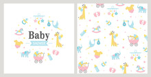 Baby Shower Card. Vector Illus...