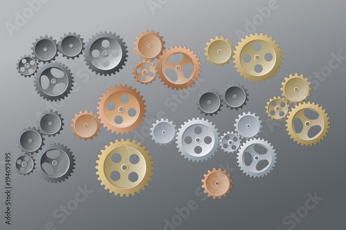 Fotografie, Obraz  System of color of the gear wheels on gray-white background