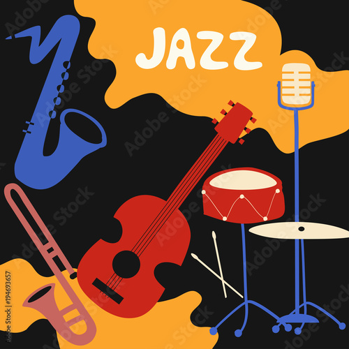 Jazz music festival poster with music instruments. Saxophone, trumpet, guitar...