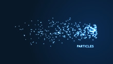 Chaotic Particles In Empty Space. Dynamic Background. Vector Illustartion.