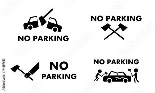 Fototapeta No parking sign and symbol with axe concept vector obraz