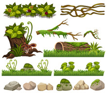 Nature Elements With Grass And Rocks
