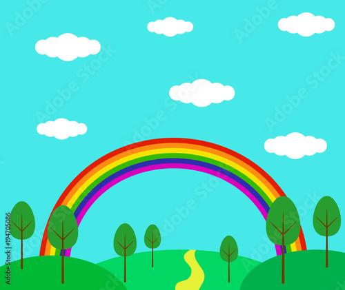 Spoed Foto op Canvas Turkoois Rainbow Summer Forest Hillside Landscape Flat Style
