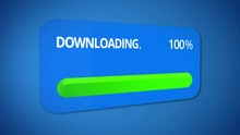 Notification About Successful Download Process, Status Bar Totally Completed