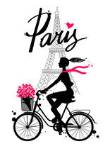 Bicycle_paris4/A Girl Rides A Bicycle. Paris. Vector Hand Drawn Illustration With Eiffel Tower. Fashion Accessories. Silhouette Cyclist.