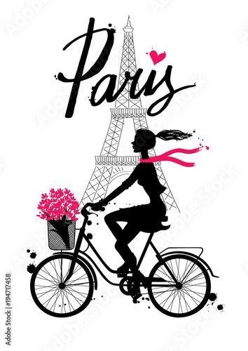 фотография Bicycle_paris4/A girl rides a Bicycle
