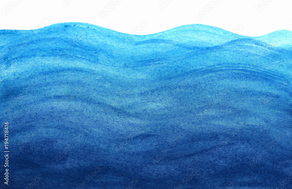 Fototapety, obrazy: Blue sea waves in watercolor