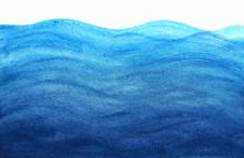 Blue Sea Waves In Watercolor