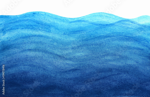 Blue sea waves in watercolor