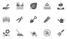 Set Of Gardening Icons With Seeding, Flowers, Tools And More.