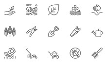 Set Of Gardening Line Icons Wi...