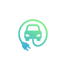 Electric Car With Plug Vector Icon