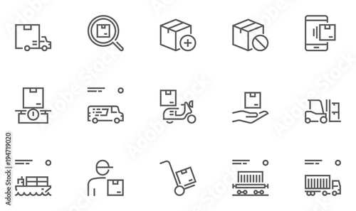 Set of Logistics, Delivery, Transportation Line Icons with Courier, Shipping, Van, Freight Transportation and more Canvas Print