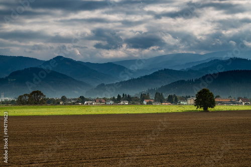 Beautiful agricultural landscape in the south of Austria with a lonely tree in a field and dramatic mountain range and clouds in the distance