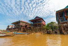 Houses At Kampong Phluk In Dry Season