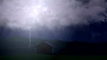 Huge Lightning Bolts Strike Above Lone Country House In Valley, Stormy Weather