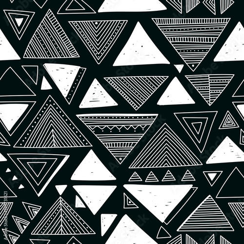 Foto auf AluDibond Boho-Stil Vector seamless pattern with ethnic tribal boho triangles