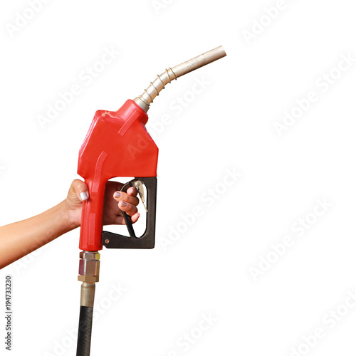 Fotografia Woman hand holding a fuel nozzle on white background