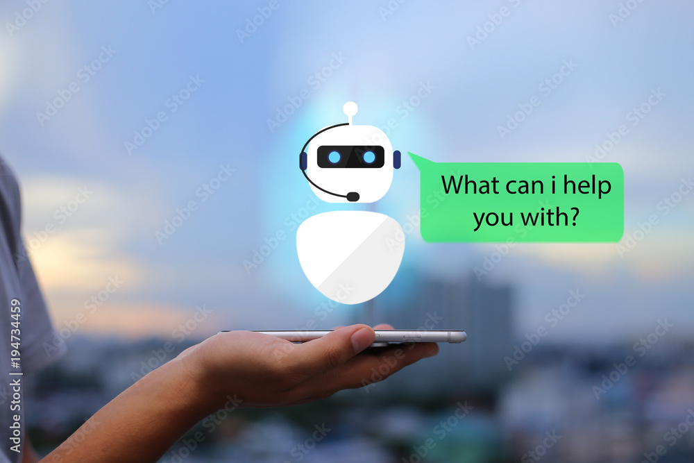 Fototapeta artificial intelligence,AI chat bot concept.Man hands holding mobile phone on blurred urban city as background