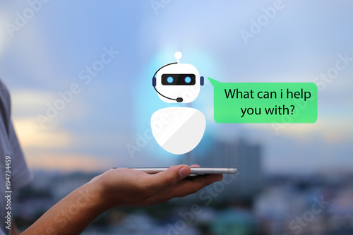 Fotografía artificial intelligence,AI chat bot concept