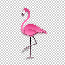 Pink Flamingo Standing On One Leg. African Exotic Bird, Cool Sticker For Birthday Cards, Party Invitations, For Tropical Design Element. Summer Decoration, Paper Cut Out Style, Vector Illustration