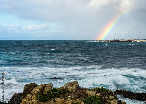 Rainbow Over Ocean Near Pebble Beach Monterey Peninsula California Usa