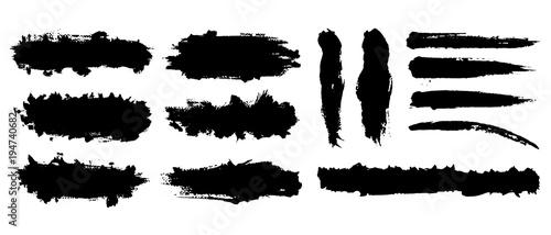 Obraz na plátně Set of hand drawn vector brush strokes