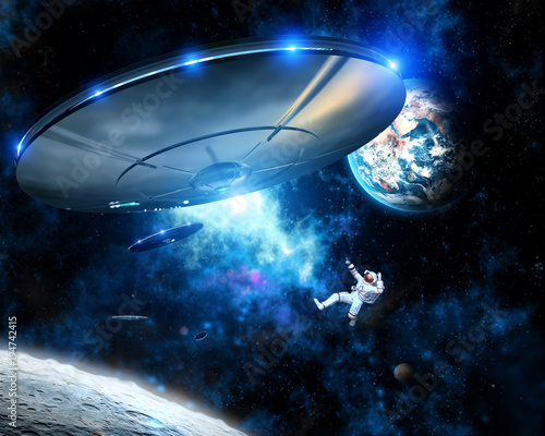 Foto op Canvas UFO Alien spaceships capture Astronaut in Space