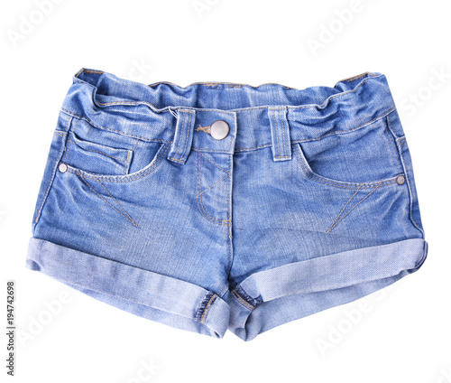 Womens jean shorts isolated.