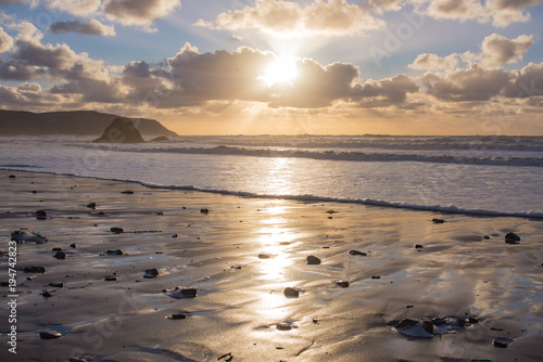 Winters evening at Widemouth Bay Wallpaper Mural