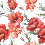 Delicate seamless pattern with poppies. Watercolor  illustration. - 194747825