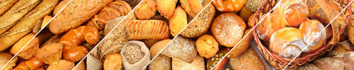 Panoramski set proizvoda od svježeg kruha.