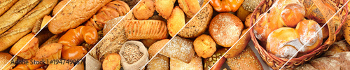 Photo sur Aluminium Boulangerie Panoramic set of fresh bread products.