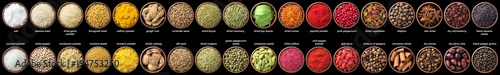 Photo large set of spices isolated on black