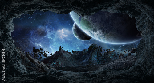 Tableau sur Toile Asteroids flying close to planets 3D rendering elements of this image furnished