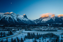 Freezing Morning On Hoodoos Lookout In Canmore, Kananaskis Country, Canada