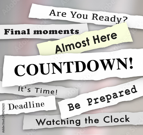 Countdown Time Almost Here Final Deadline Headlines 3d Illustration Canvas Print