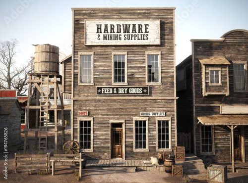 a1653ef17 Western town rustic Hardware and mining supply store. 3d rendering . Part  of a Western