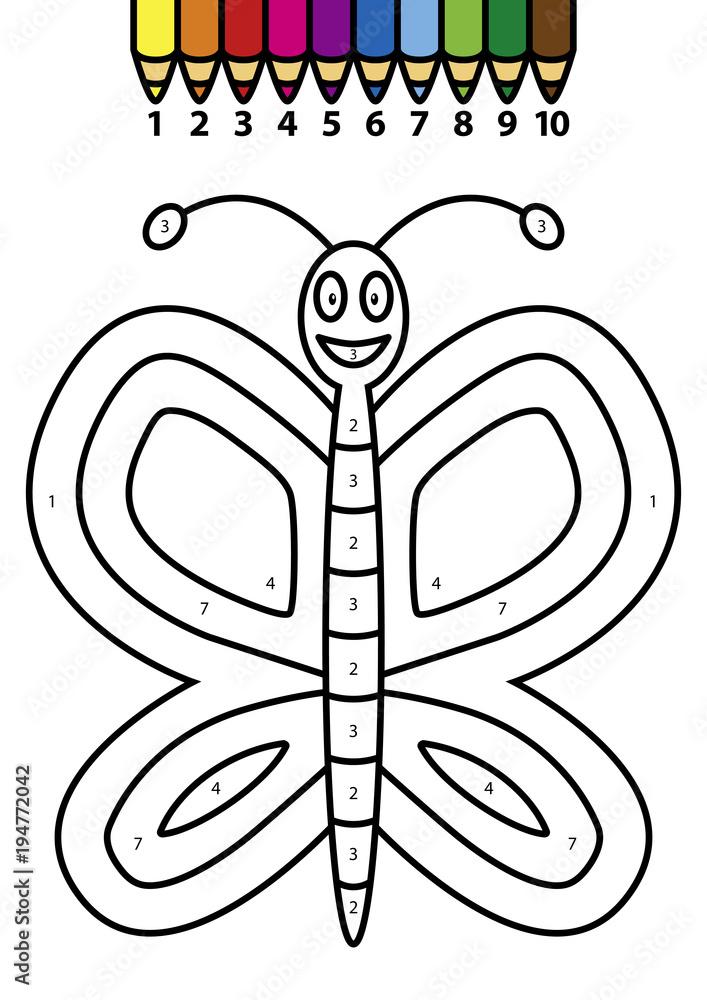 Schmetterling – Ausmalen nach Zahlen