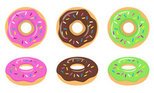 Colorful Glazed Donut Set On White Background. Strawberry, Chocolate And Green Glazed Donuts. The View From The Top And From The Side. Vector Illustration