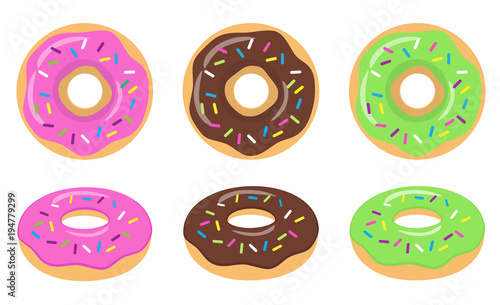 Colorful glazed donut set on white background фототапет