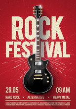 Vector Illustration Red Rock Festival Concert Party Flyer Or Poster Design Template With Guitar, Place For Text And Cool Effects In The Background