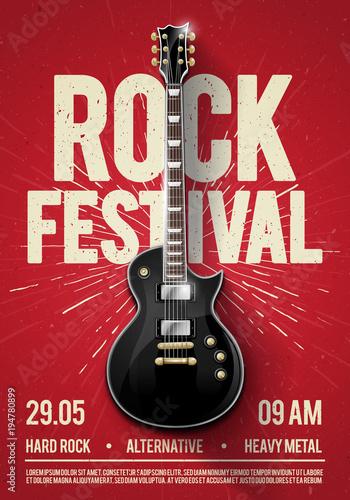 ilustracji wektorowych czerwony festiwal rockowy koncert party flyer lub plakat szablon z gitarą, miejsce na tekst i fajne efekty w tle