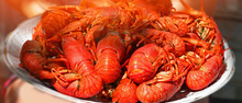 Big Plate Of Tasty Boiled Crawfish Closeup, Seafood