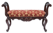Red And Gold Upholstered Arm Bench With Clipping Path.