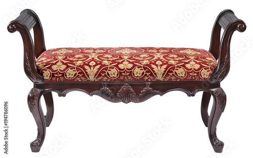 Red and gold upholstered arm bench with clipping path. Wallpaper Mural